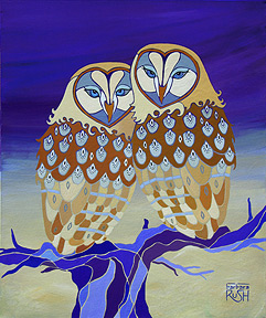 Together at LAst Owl PAinting in Purple