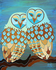 Together at Last Owl Painting in Teal