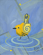 Yellow Warbler Cubist Painting