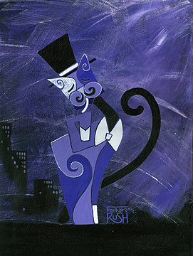 Big City Kitty Painting Tuxedo Cat