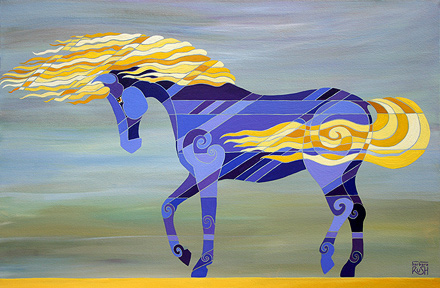 GOing with the flow painting of a horse with mane and tail blowing in wind
