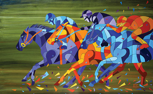 Contemporary Race Horse Painting