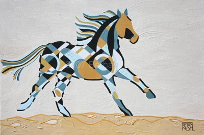 The Tao of an Ocean Breeze, Contemporary Equine Art Painting