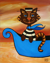 Gondelier Cat Painting